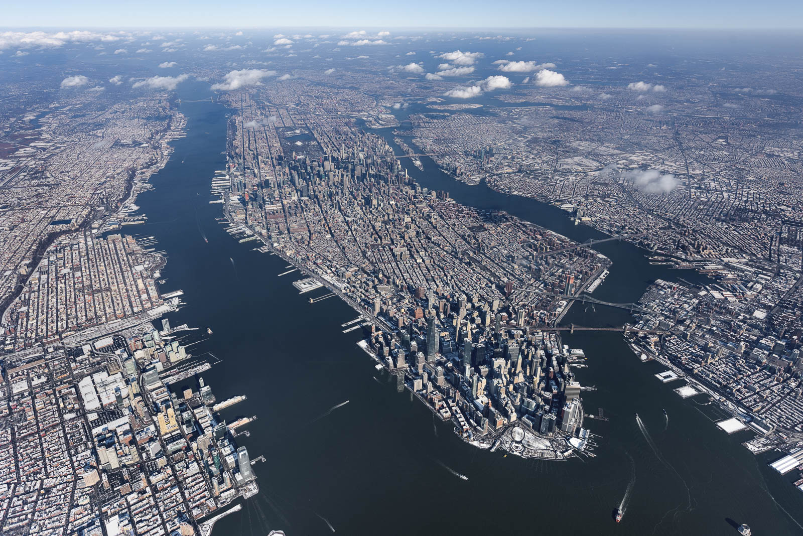 Look at wintry Manhattan from 10,000 feet
