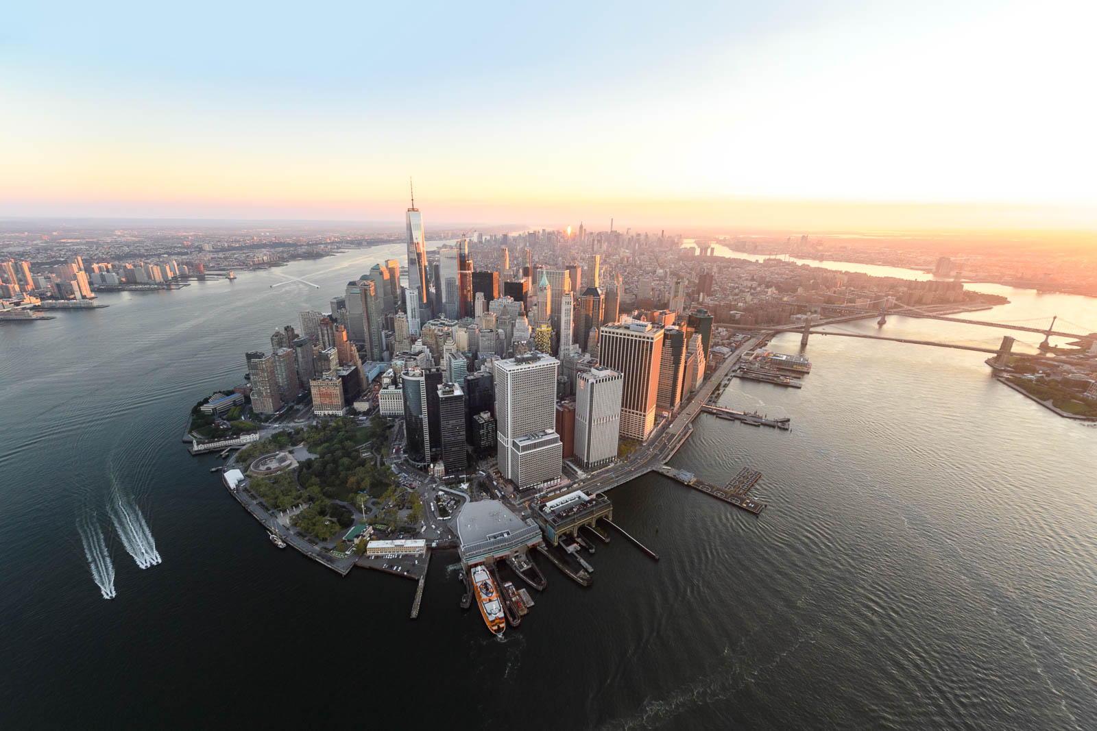 Look at lower Manhattan in a morning light